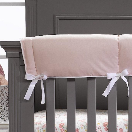 Liz & Roo Crib Rail Cover in Petal Pink Linen