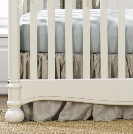 "Liz & Roo 16"" Gathered Crib Skirt Flax Linen"