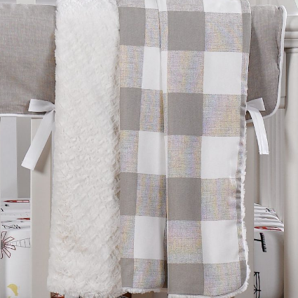 Liz & Roo Blanket in Taupe Buffalo Check
