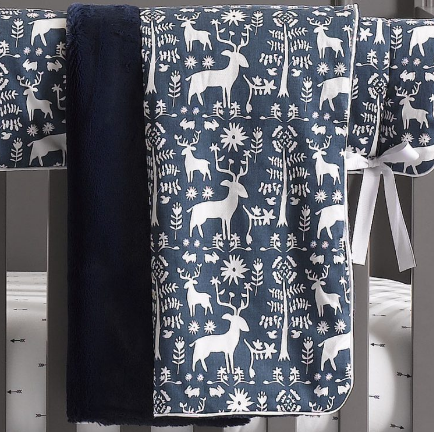 Liz & Roo Blanket in Navy Woodland Forest
