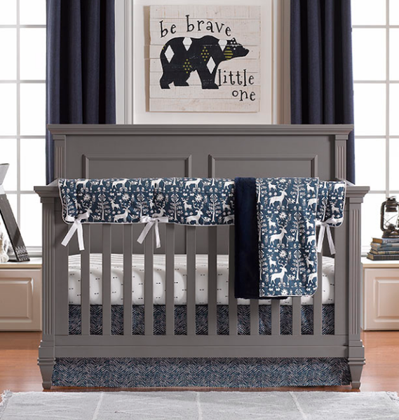 Liz & Roo Bumperless Set in Navy Woodland Forest