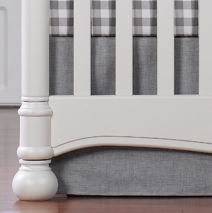 "Liz & Roo 17"" Crib Skirt in Gray Crosshatch"