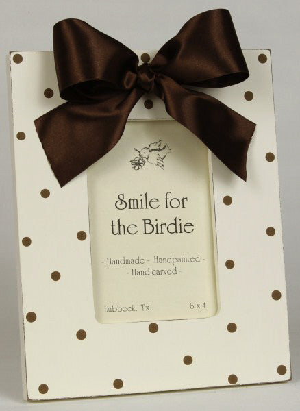 Smile for the Birdie Polka Dot Frame in Chocolate