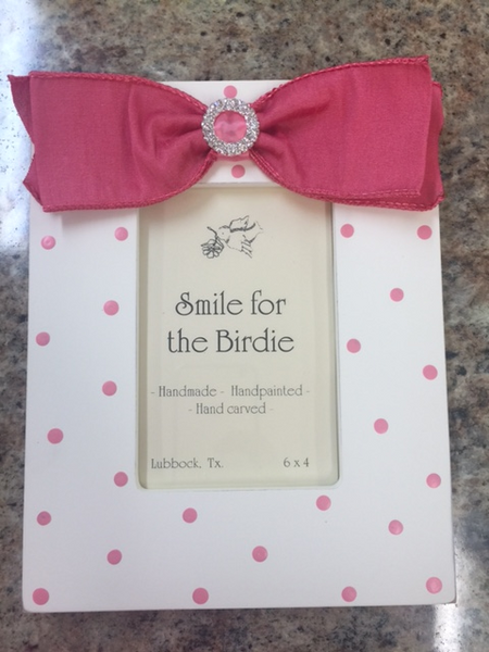 Smile for the Birdie Polka Dot Frame in Hot Pink