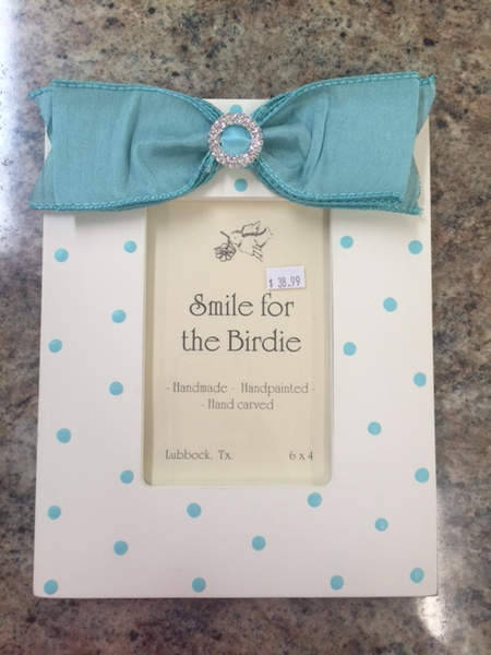 Smile for the Birdie Polka Dot Frame in Turquoise