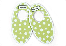 Closet Dividers in Green with White Polka Dots