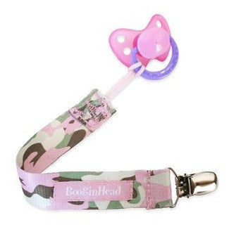 Booginhead Paci Clip Camo Pink