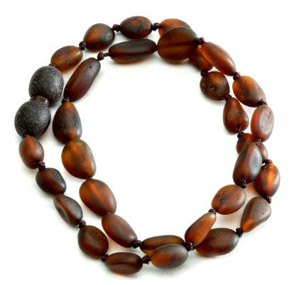 Cherished Moments Amber Necklace in Dark Cognac- Unpolished