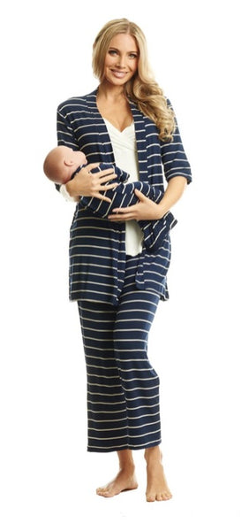 Everly Gray 5 Piece Gift Set in Navy Stripes