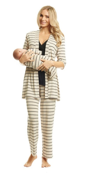 Everly Gray 5 Piece Gift Set in Sand Stripes