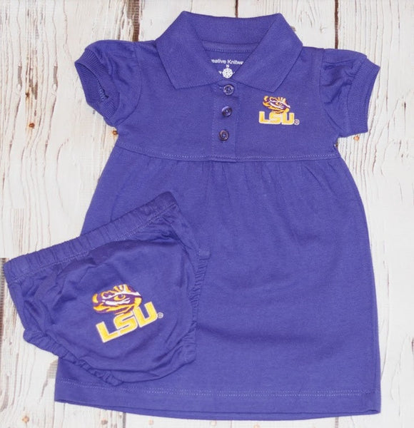 Creative Knitwear Game Day Dress with Bloomer- LSU