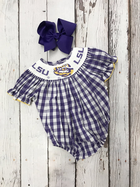 LSU Big Check Girls Smocked Bishop Bubble