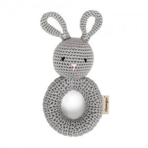 Cheengoo Gray Bunny Ring Rattle