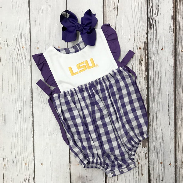 LSU Big Check Girls Embroidered Bubble