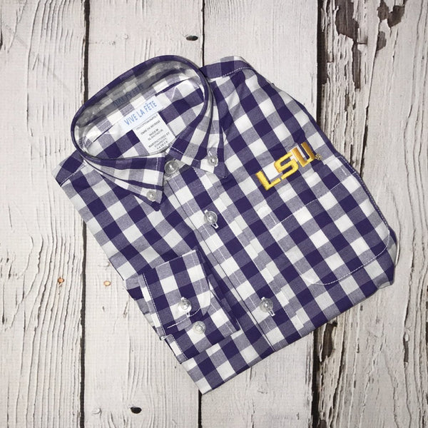LSU Big Check Long Sleeve Button Down