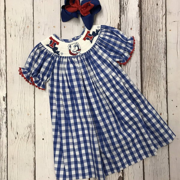 LA Tech Big Check Girl Smocked Bishop Dress