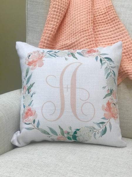 Peach Floral Personalized Pillow