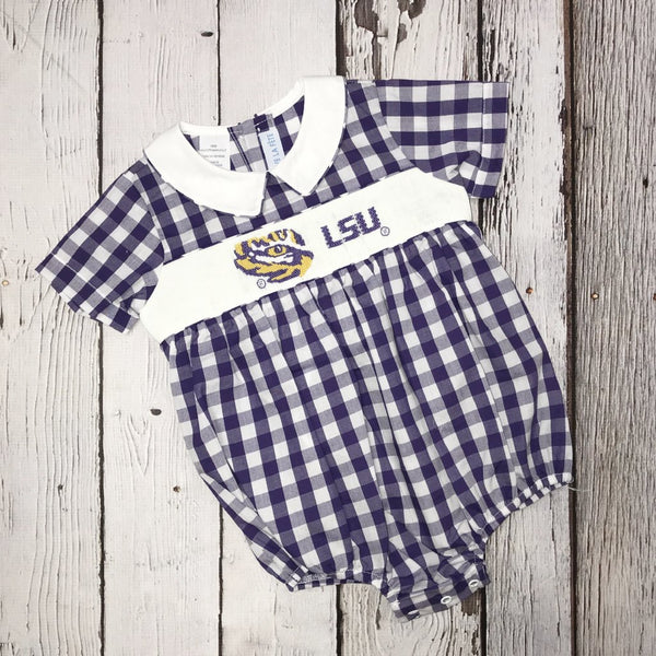 LSU Big Check Boy Smocked Bubble