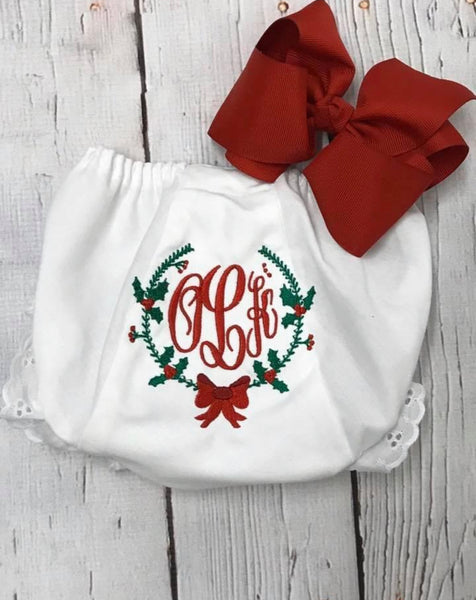 Holly Wreath Girl Monogram Bloomers