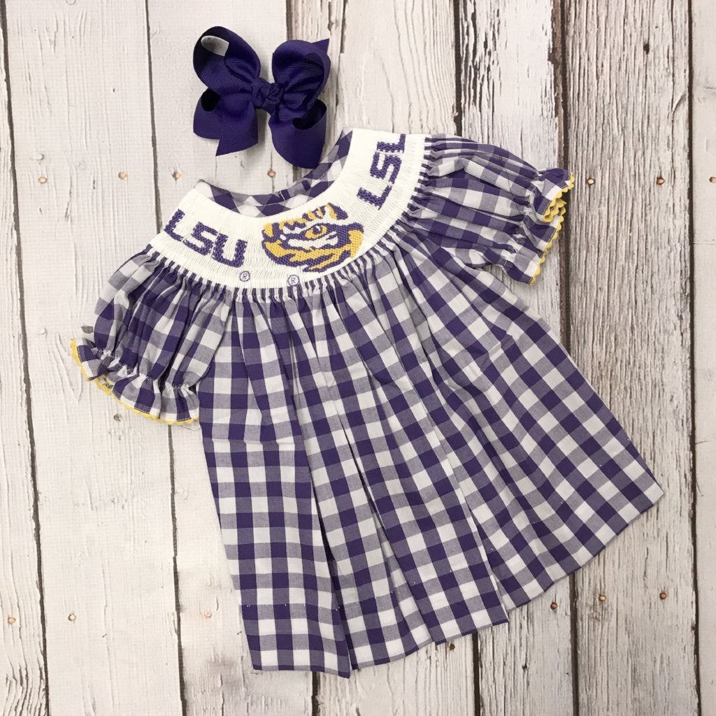 bd48fbee4ffe LSU Big Check Girl Smocked Bishop Dress – Ladies in Waiting