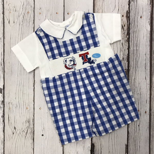 LA Tech Big Check Boy Smocked Jon Jon with Shirt