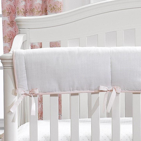 Liz & Roo Rail/Teething Cover White Weave with Blush Peach Piping