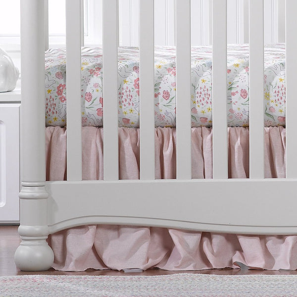 "Liz & Roo 16"" Gathered Crib Skirt Petal Pink Linen"