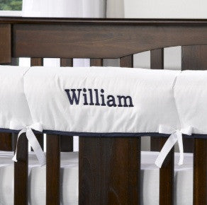 Liz & Roo Rail/Teething Cover White with Navy Trim