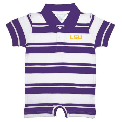 Two Feet Ahead Rugby Stripe Romper LSU