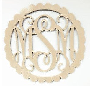 Wooden Monogram Scalloped Unpainted