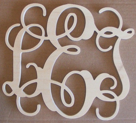 Wooden Monogram Script Painted