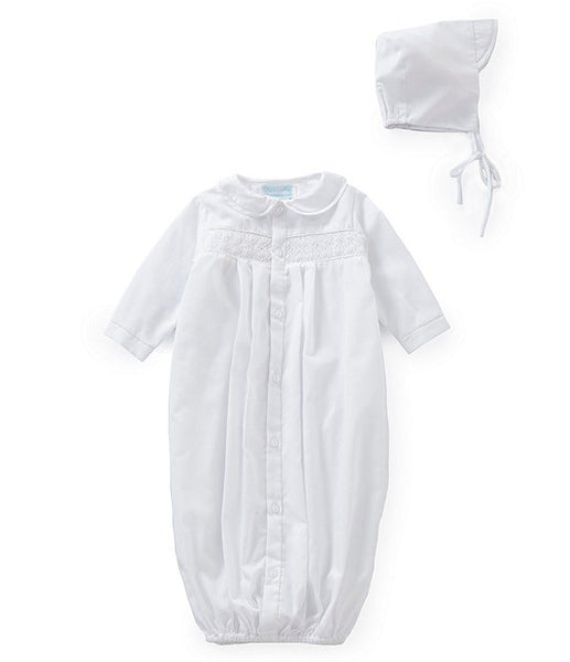 Petit Ami Newborn Smocked Gown and Hat Set
