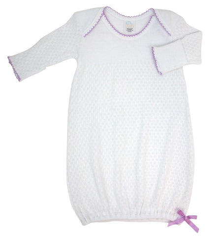 Paty Gown in White with Lavender Trim