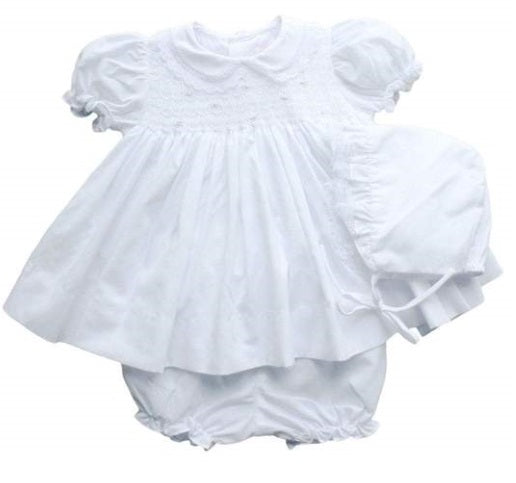 Petit Ami Fully Smocked Dress with Lace in White