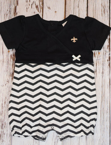 Two Feet Ahead Chevron Romper Saints