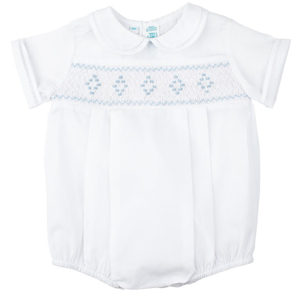 Feltman Brothers Boy's Smocked Romper in White