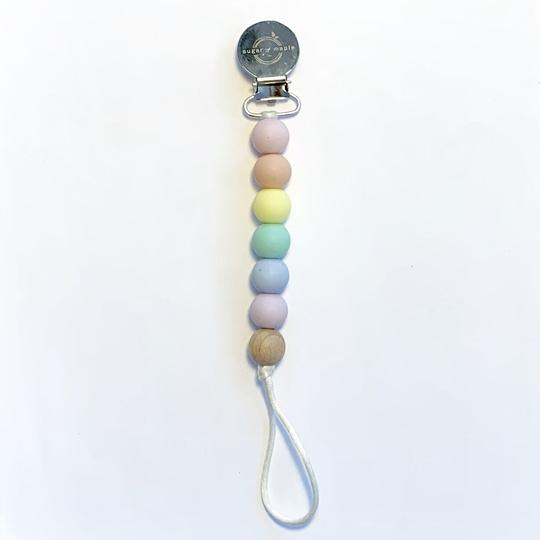 sugar + maple pastel rainbow paci clip