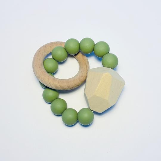 Silicone + Beechwood Teether- Gem - Olive