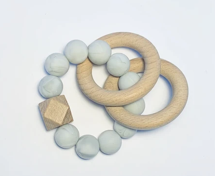 Silicone + Beechwood Teether- 2 Ring- Grey