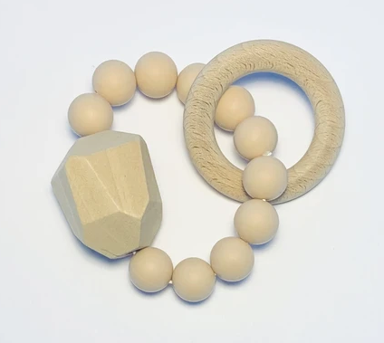 Silicone + Beechwood Teether- Gem - Natural