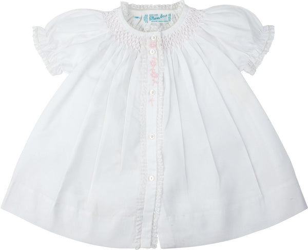 Feltman Brothers Girl's Smoked Yoke Dress White with Pink