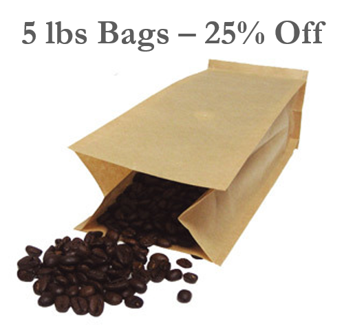 5 lbs Bag (2,268 g) - 25% Savings! - Whole Bean