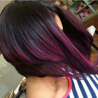 Straight Ombre Human Hair (Three Bundles) (1B/Purple) - Low price cheap hair extensions