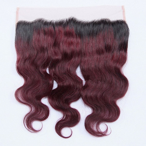 Body Wave 13x4 Lace Base Ombre Frontal Closure (1B/99J) - Low price cheap hair extensions