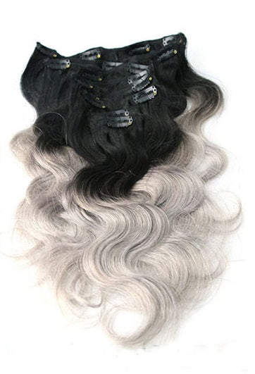 Body Wave Clip In Extensions (#1B/Grey) - Low price cheap hair extensions