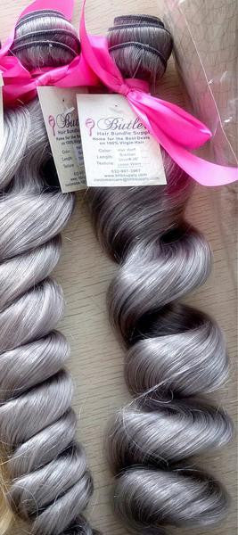 Loose Wave Human Hair (One Bundle) (Silver)