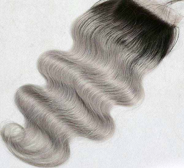 Body Wave 4x4 Lace Base Ombre Closure (1B/Silver)