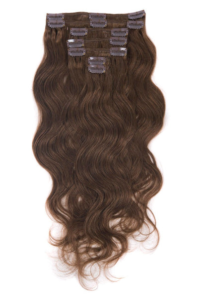 Body Wave Clip In Extensions (#4 Brown) - Low price cheap hair extensions