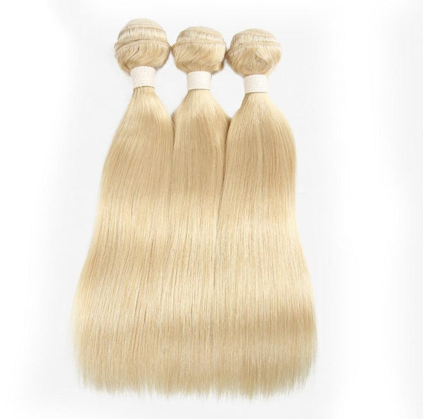 Straight Bleached Blonde Human Hair (Three Bundles) (#60) - Low price cheap hair extensions