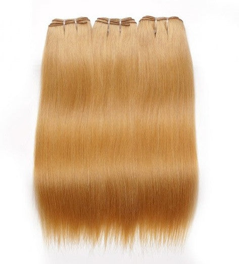 Straight Honey Blonde Human Hair (Three Bundles) (#27) - Low price cheap hair extensions